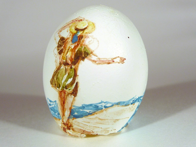 """The Escape,"" Egg Series, Gouache on Local Farmers Egg, 2 x 3 in, 2013"