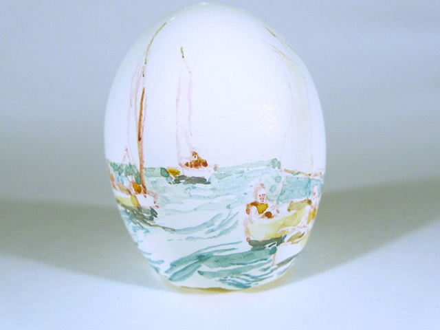"""The Search,"" Egg Series, Gouache on Local Farmers Egg, 2 x 3 in, 2013"