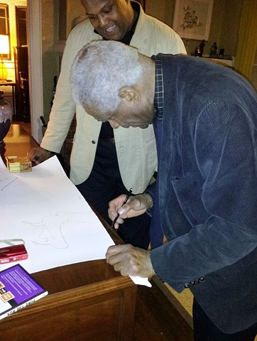 Richard Hunt, Personalizing a Lithograph for Me