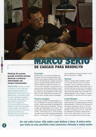 Marco Serio's interview in Tattoo Anuario.