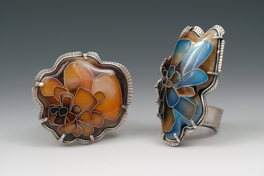 Cloisonne Ring Pair