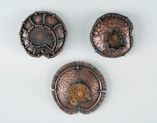Ammonite Brooch Trio