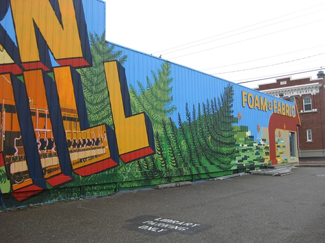 The Fern Hill mural, looking East.  Commissioned by the City of Tacoma.  Collaborators: Brad Pugh, Dionne Bonner, Laurie Larson