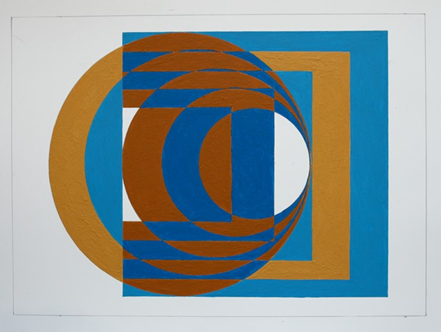 Optical art, negative space, high contrast color, work on paper