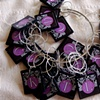 CUSTOM Purple and Black Monogram Wine Charms