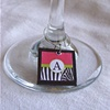 ZEBRA Pink and Black Monogram Wine ID Charms