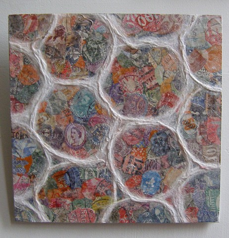 collage, postage stamp art, tissue paper