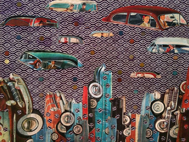 collage, automobiles, art