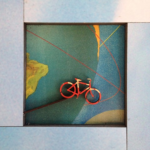 bicycle art, collage, mixed media