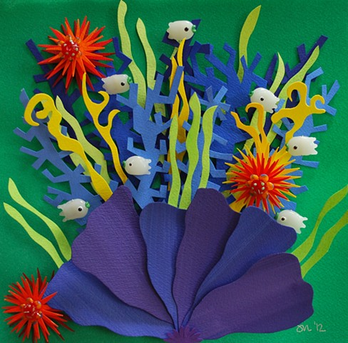 hand cut paper, paper art, paper artist, paper sculpting, paper sculpture, paper craft, fish, reef