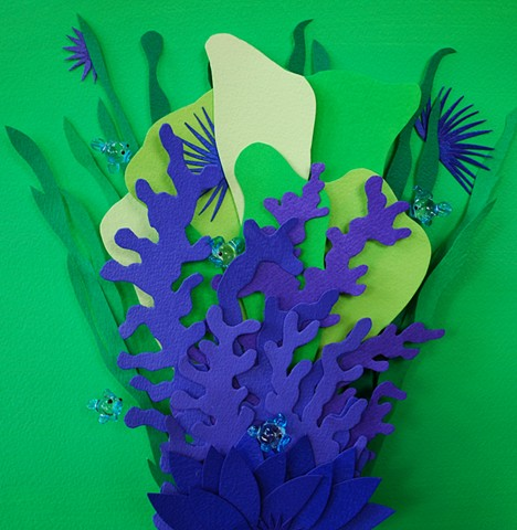 hand cut paper, paper art, paper artist, paper sculpting, paper sculpture, reef