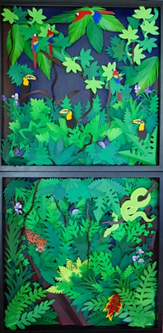paper art, paper artist, paper cutting, paper sculpting, paper, rainforest, jungle, south american rainforest
