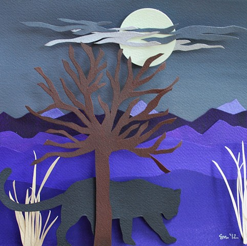 hand cut paper, paper art, paper artist, paper sculpting, paper sculpture, paper craft, panther
