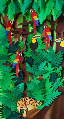 hand cut paper, paper art, paper artist, paper sculpting, paper sculpture, jungle, rainforest, jaguar