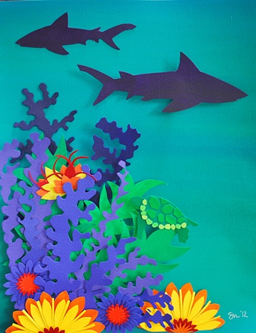 hand cut paper, paper art, paper artist, paper sculpting, paper sculpture,reef, ocean, sharks