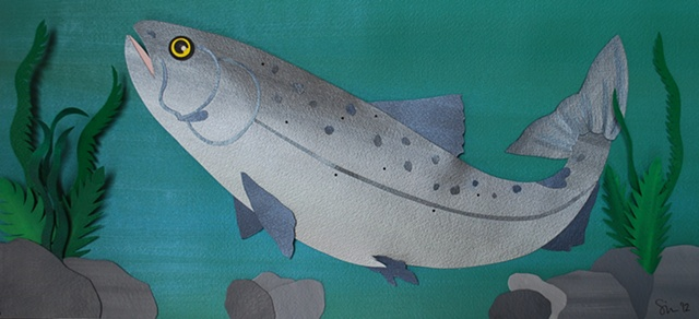 hand cut paper, paper art, paper artist, paper sculpting, paper sculpture, salmon, trout, fish