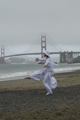 Baker Beach San Francisco California performance white dance shamanism