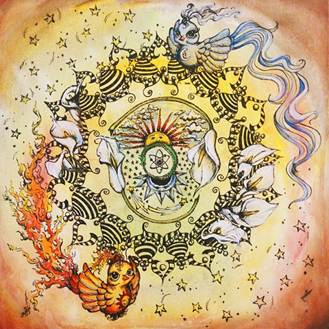 Alchemical masculine, the Phoenix and feminine, the Stork combine to form the philosopher's stone.