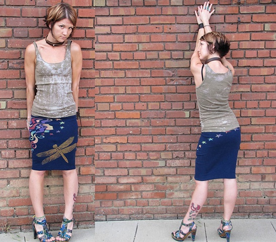 Dragonfly Goddess Recycled Tshirt Pencil Skirt