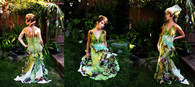 wedding custom fairy woodland moss dress crochet