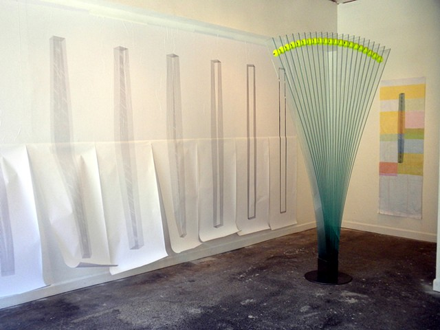 Glass sculpture, drawing, art, installation, fm gallery
