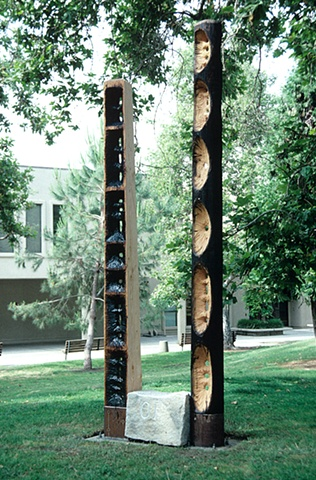 Public art, carved wood with Morse Code text