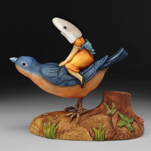 Shark Girl Riding Blue Bird