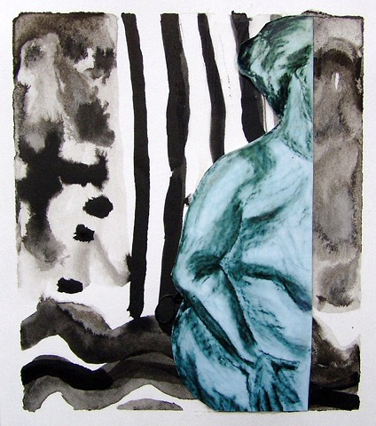 figure, abstract, ink, mixed media, black, white