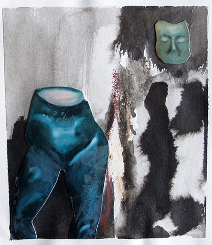 body, figure, legs, mask, ink, mixed media