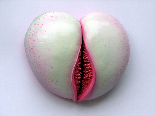 Yoni like painted ceramic wall relief. Biomorphic. Abstract. Surreal, vulva, vagina