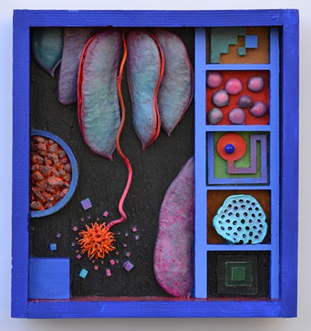Box, assemblage, influenced by Cornell and Nevelson, Colorful, Seed pods
