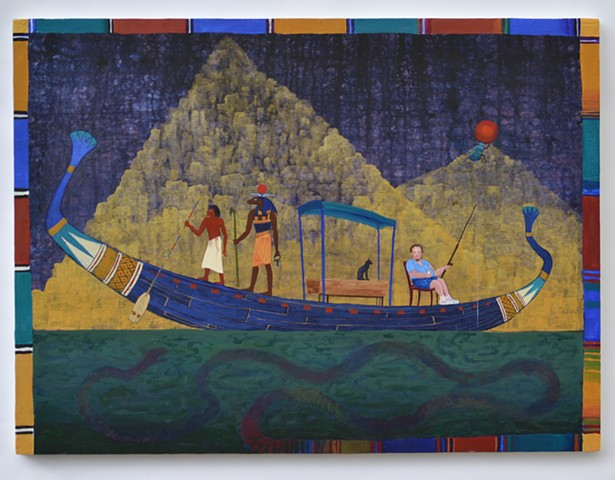 "Folk-art style, narrative, including a ""solar barque"", Egyptian god, scarab beetle and man fishing"