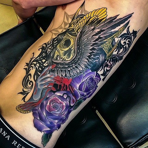 """My Beautiful Addiction"" skull and wing tattoo by Custom tattoos by Adam Sky, San Francisco, California"