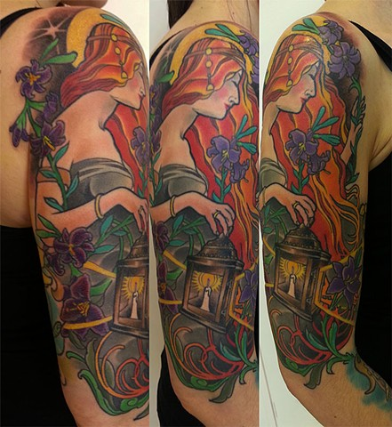 Saint Claire Tattoo in a Mucha style by Custom tattoos by Adam Sky, San Francisco, California