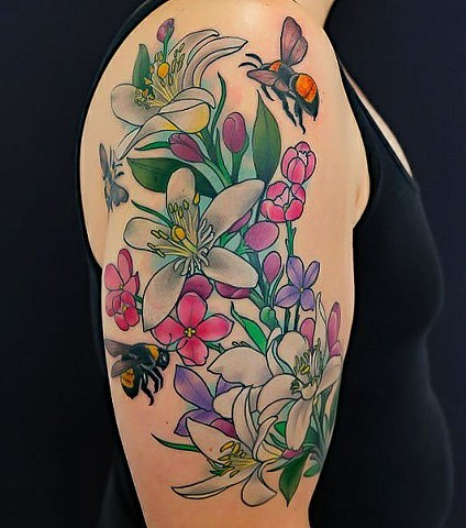 Lemon Blossoms and Bumble Bee Tattoo by Custom Tattoos by Adam Sky, San Francisco, California