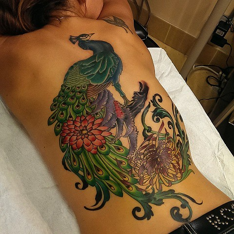 Peacock backpiece tattoo by Custom tattoos by Adam Sky, San Francisco, California