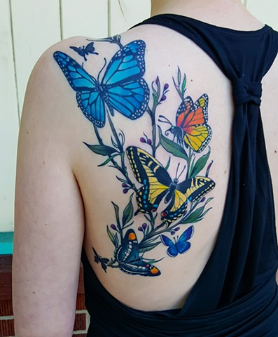 Butterflies Tattoo by Adam Sky, San Francisco, California