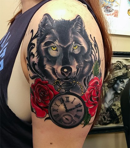 Jazzmine's wolf and timepiece tattoo by Custom tattoos by Adam Sky, San Francisco, California