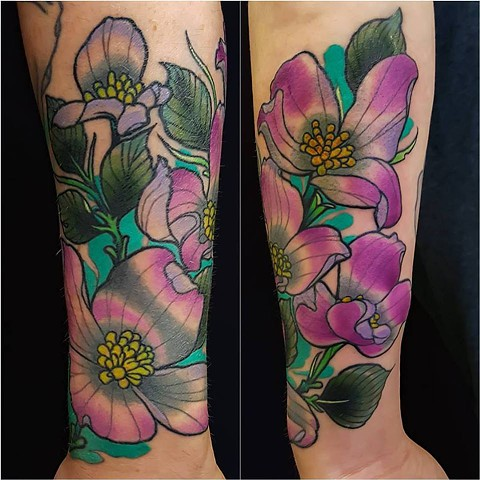Dogwood Flower Tattoo by Adam Sky, San Francisco, California