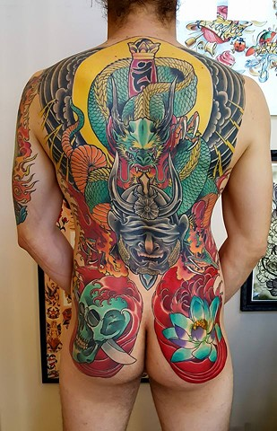 Japanese Dragon Full Back Tattoo by Custom Tattoos by Adam Sky, San Francisco, California