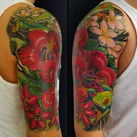 Tree Frog and Hibiscus Flowers Tattoo by Adam Sky, San Francisco, California