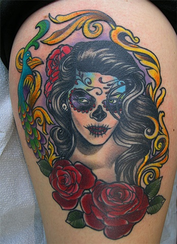 Day of the dead girl tattoo by Adam Sky, San Francisco, California