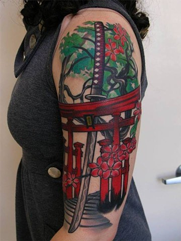 Shinto Gate Tattoo by Custom tattoos by Adam Sky, San Francisco, California