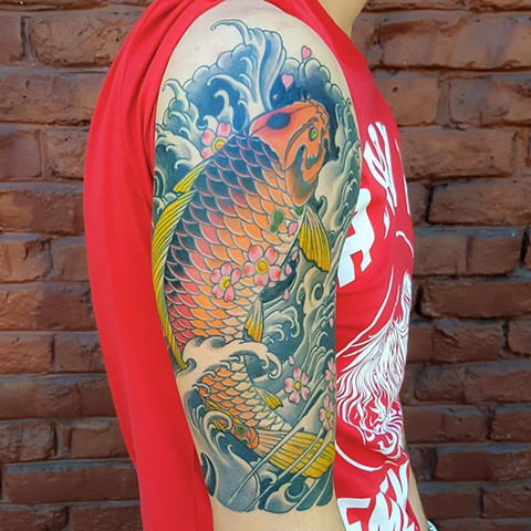 Koi Fish Half Sleeve Tattoo, Custom Tattoos by Adam Sky, San Francisco, California