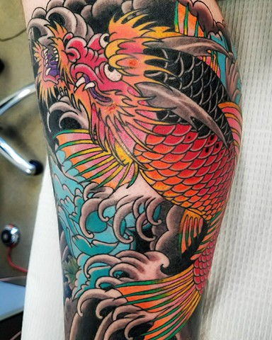Koi Dragon Tattoo by Custom Tattoos by Adam Sky, San Francisco, California