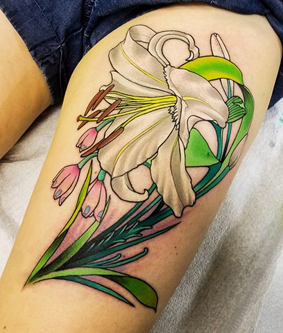 White Oriental Lily Tattoo by Adam Sky, San Francisco, California