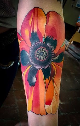 Georgia O'Keefe Poppy Tattoo by Adam Sky, Bay Area, California