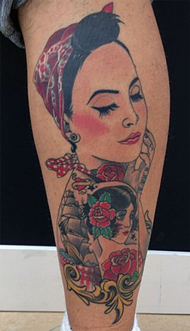 punk rock pinup girl tattoo by Custom tattoos by Adam Sky, San Francisco, California