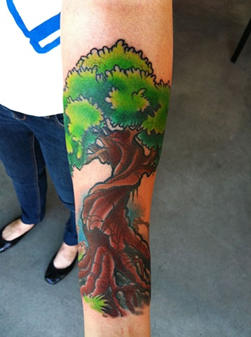 tree tattoo by Custom tattoos by Adam Sky, San Francisco, California