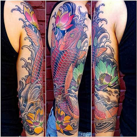 Koi fish and Lotus Flower Sleeve Tattoo by Custom Tattoos by Adam Sky, San Francisco, California